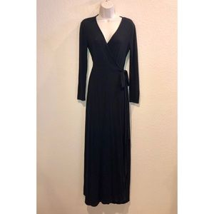Yumi Kim Black Long Sleeve Wrap Maxi Dress